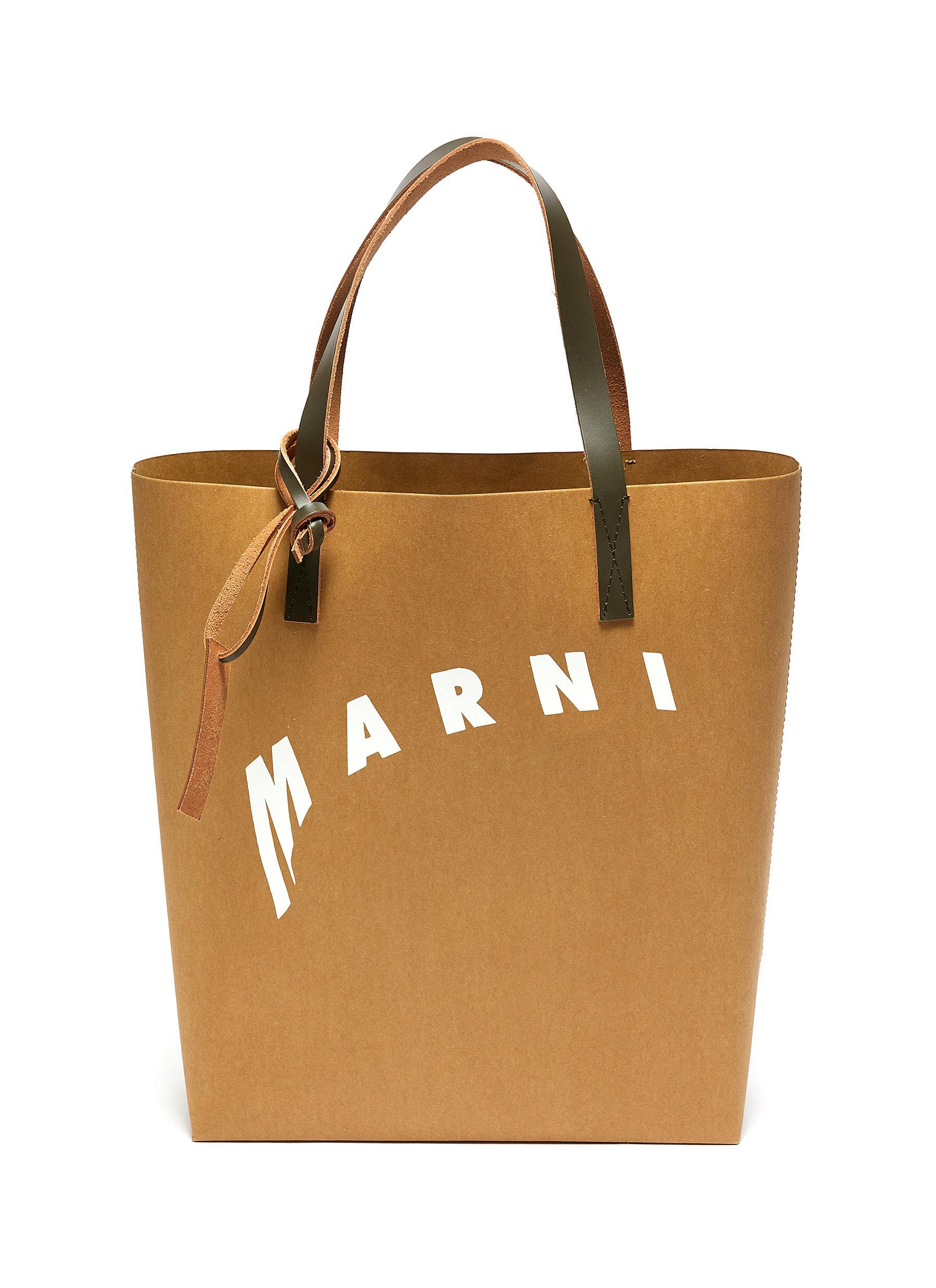 MARNI LOGO PRINT CELLULOSE SHOPPING BAG TOTE