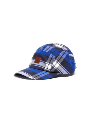 Main View - Click To Enlarge - ACNE STUDIOS - Check print face patch baseball cap