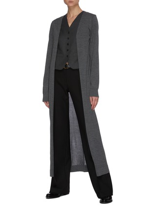 Figure View - Click To Enlarge - THE ROW - 'Bayo' Open Front Cashmere Silk Blend Long Coat