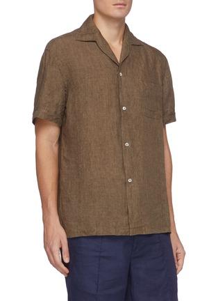 Front View - Click To Enlarge - LARDINI - 'Gian' linen cotton blend Cuban shirt