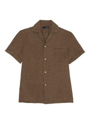 Main View - Click To Enlarge - LARDINI - 'Gian' linen cotton blend Cuban shirt