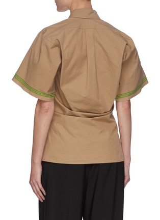 Back View - Click To Enlarge - BOTTEGA VENETA - Striped Sleeves Point Collar Cotton Shirt