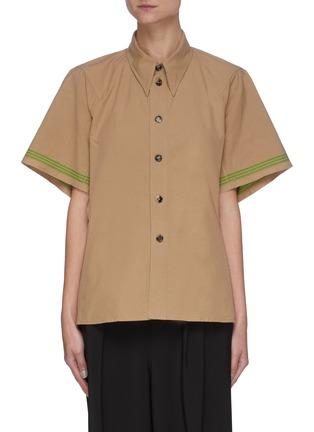 Main View - Click To Enlarge - BOTTEGA VENETA - Striped Sleeves Point Collar Cotton Shirt