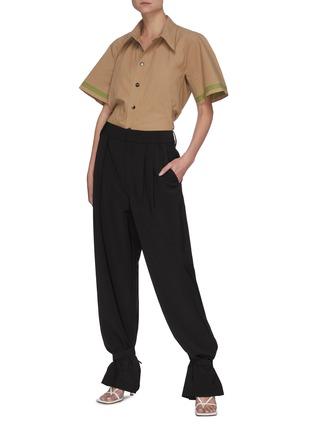 Figure View - Click To Enlarge - BOTTEGA VENETA - Striped Sleeves Point Collar Cotton Shirt