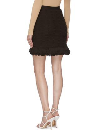 Back View - Click To Enlarge - BOTTEGA VENETA - Pompom Embellished Tassel Fringe Cotton Mesh Mini Skirt