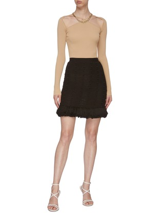 Figure View - Click To Enlarge - BOTTEGA VENETA - Pompom Embellished Tassel Fringe Cotton Mesh Mini Skirt