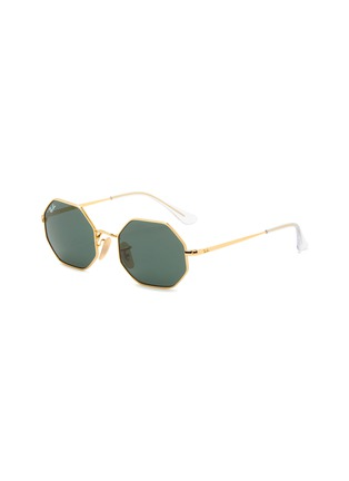 Main View - Click To Enlarge - RAY-BAN - Clear Temple Tip Octagonal Metal Frame Junior Sunglasses