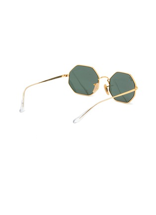 Figure View - Click To Enlarge - RAY-BAN - Clear Temple Tip Octagonal Metal Frame Junior Sunglasses