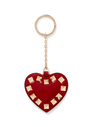 Main View - Click To Enlarge - VALENTINO - 'Rockstud' heart spazzolato leather keyring