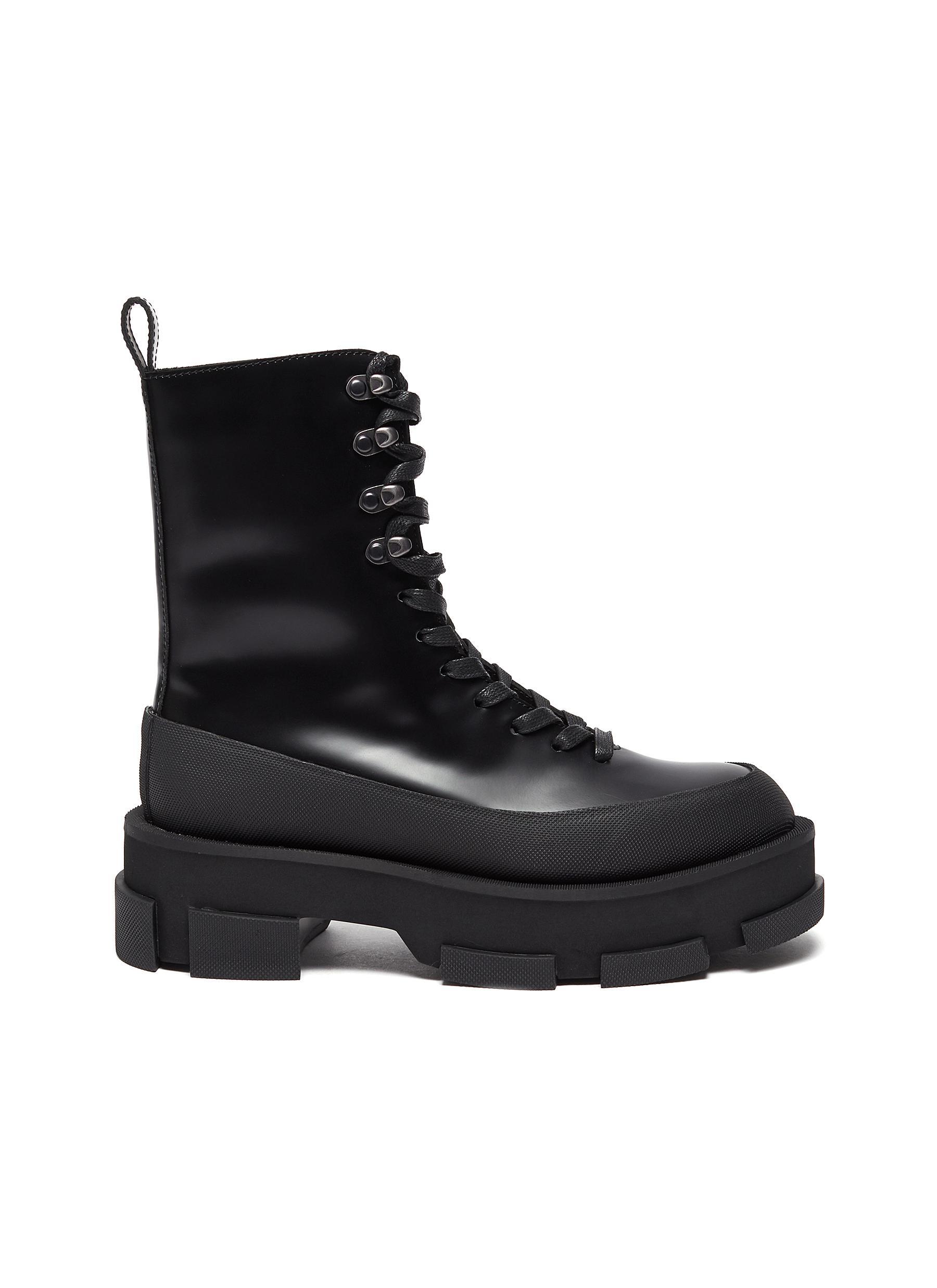 'Gao' platform leather combat boots