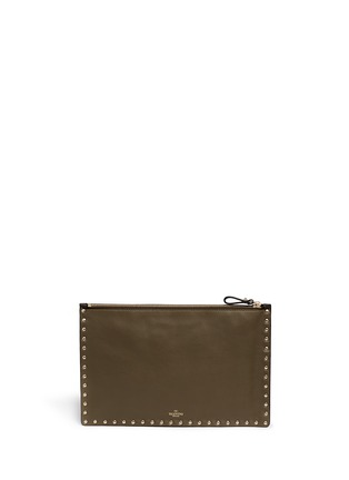 Back View - Click To Enlarge - VALENTINO - 'Rockstud' camouflage leather pouch