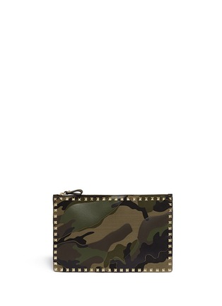 Main View - Click To Enlarge - VALENTINO - 'Rockstud' camouflage leather pouch