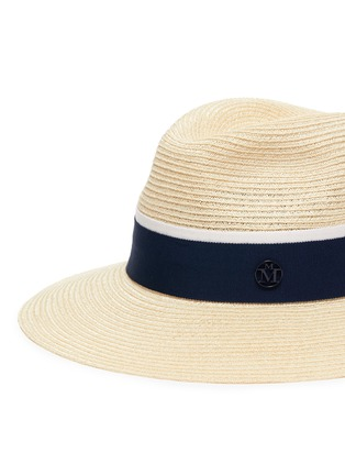 Detail View - Click To Enlarge - MAISON MICHEL - Henrietta' Logo Plaque Band Canapa Straw Fedora