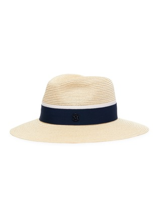 Main View - Click To Enlarge - MAISON MICHEL - Henrietta' Logo Plaque Band Canapa Straw Fedora