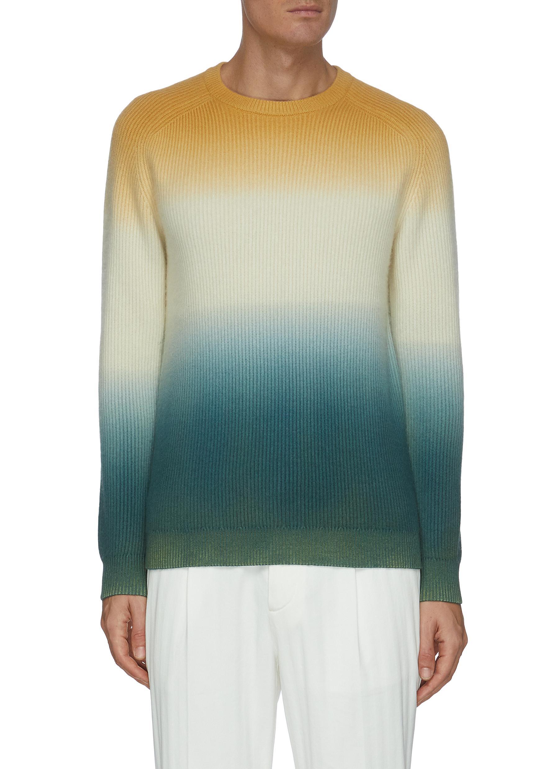 Horizontal Gradient rib knit cashmere sweater