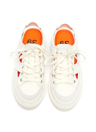 Detail View - Click To Enlarge - BOTH - Tyres' cut-out lace-up canvas sneakers