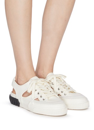 Figure View - Click To Enlarge - BOTH - Tyres' cut-out lace-up canvas sneakers