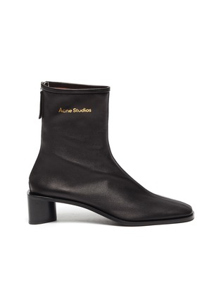 Main View - Click To Enlarge - ACNE STUDIOS - Square Toe Heeled Lambskin Leather Ankle Boots