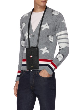 Figure View - Click To Enlarge - THOM BROWNE - Pebble grain leather phone holder