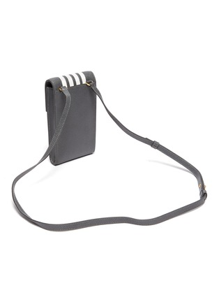 Detail View - Click To Enlarge - THOM BROWNE - Four band flap pebble grain leather phone holder