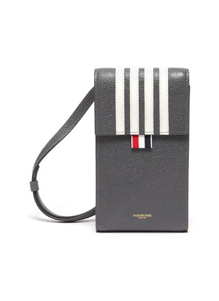 Main View - Click To Enlarge - THOM BROWNE - Four band flap pebble grain leather phone holder
