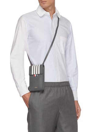 Figure View - Click To Enlarge - THOM BROWNE - Four band flap pebble grain leather phone holder