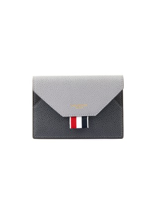 Main View - Click To Enlarge - THOM BROWNE - Tricolour Tab Envelope Leather Cardholder