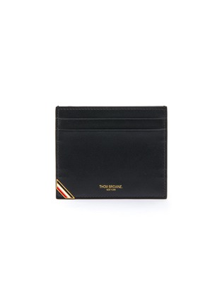 Main View - Click To Enlarge - THOM BROWNE - Tricolour Tab Enamel Double Side Leather Cardholder