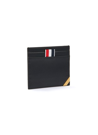 Figure View - Click To Enlarge - THOM BROWNE - Tricolour Tab Enamel Double Side Leather Cardholder