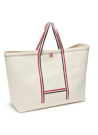 Detail View - Click To Enlarge - THOM BROWNE - Tool' Tricolour Strap Oversize Canvas Tote