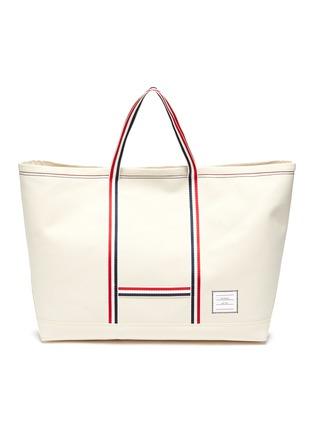 Main View - Click To Enlarge - THOM BROWNE - Tool' Tricolour Strap Oversize Canvas Tote
