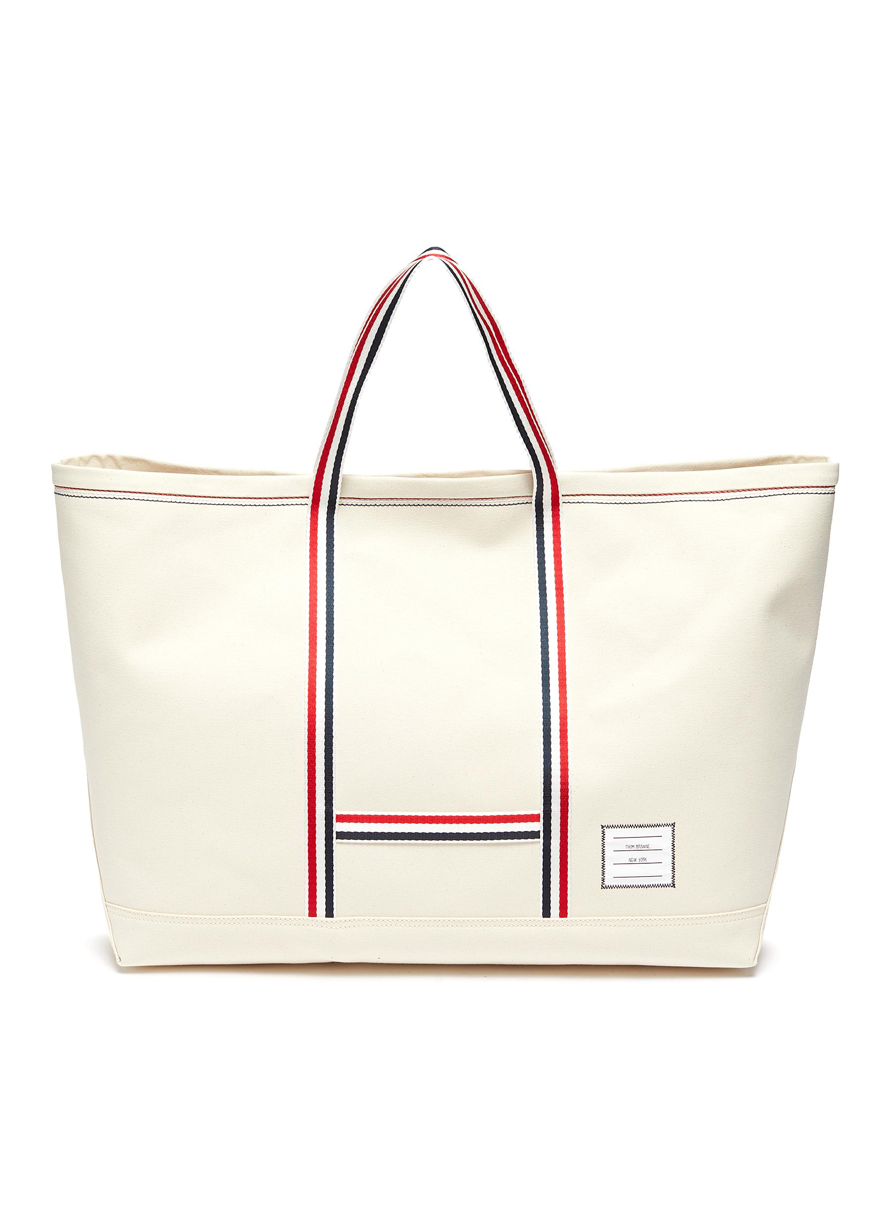 THOM BROWNE TOOL' TRICOLOUR STRAP OVERSIZE CANVAS TOTE