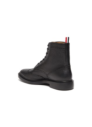 - THOM BROWNE - Wingtip' Tricolour Heel Tab Leather Boots