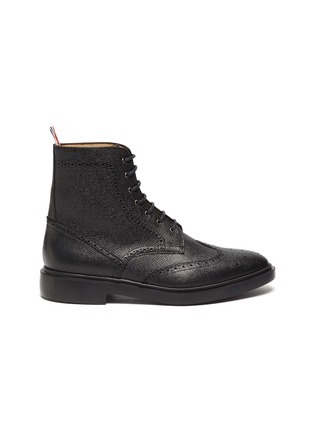Main View - Click To Enlarge - THOM BROWNE - Wingtip' Tricolour Heel Tab Leather Boots