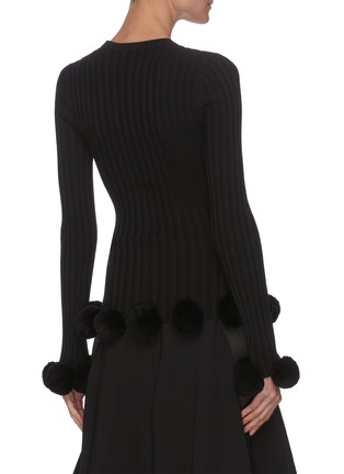 Back View - Click To Enlarge - JW ANDERSON - Pom Pom Trim Rib Merino Wool Sweater