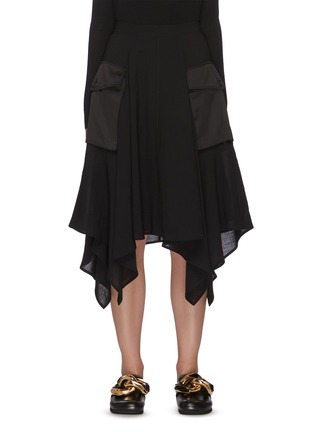 Main View - Click To Enlarge - JW ANDERSON - Asymmetric Drape Hem Midi Cargo Skirt
