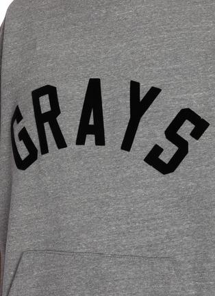 - FEAR OF GOD - Grays slogan kangaroo pocket triblend fleece sweatshirt