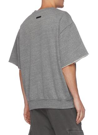 Back View - Click To Enlarge - FEAR OF GOD - Grays slogan kangaroo pocket triblend fleece sweatshirt