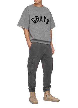 Figure View - Click To Enlarge - FEAR OF GOD - Grays slogan kangaroo pocket triblend fleece sweatshirt