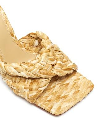 Detail View - Click To Enlarge - BOTTEGA VENETA - Square toe Intrecciato raffia sandals