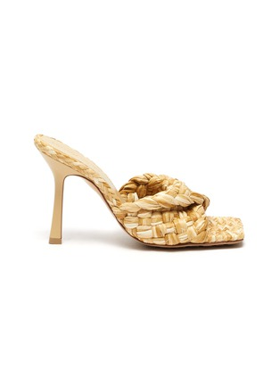 Main View - Click To Enlarge - BOTTEGA VENETA - Square toe Intrecciato raffia sandals