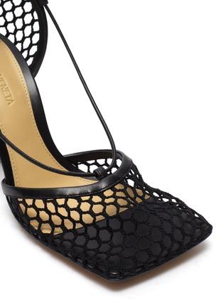 Detail View - Click To Enlarge - BOTTEGA VENETA - Fishnet Mesh Leather Anklet Heeled Sandals