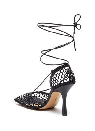 - BOTTEGA VENETA - Fishnet Mesh Leather Anklet Heeled Sandals
