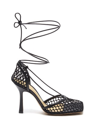 Main View - Click To Enlarge - BOTTEGA VENETA - Fishnet Mesh Leather Anklet Heeled Sandals