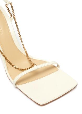 Detail View - Click To Enlarge - BOTTEGA VENETA - Chain anklet square toe leather sandals