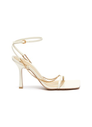 Main View - Click To Enlarge - BOTTEGA VENETA - Chain anklet square toe leather sandals