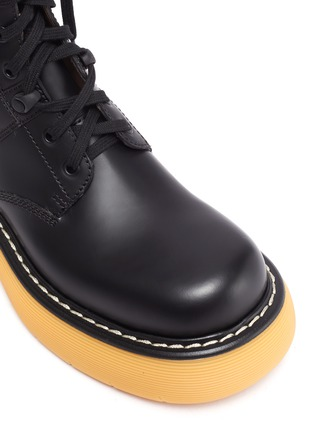 Detail View - Click To Enlarge - BOTTEGA VENETA - 'THE BOUNCE' Tread Sole Leather Combat Boots