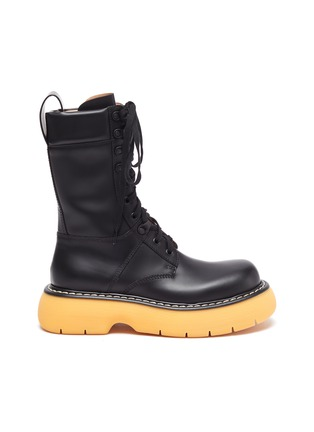 Main View - Click To Enlarge - BOTTEGA VENETA - 'THE BOUNCE' Tread Sole Leather Combat Boots