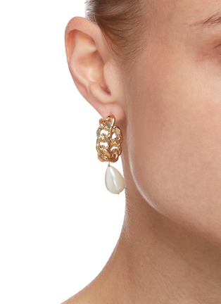 Figure View - Click To Enlarge - ROSANTICA - 'Comedy' pearl hoop earrings