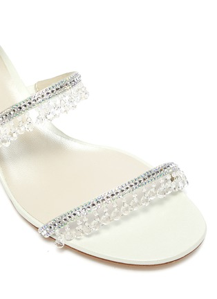 Detail View - Click To Enlarge - RENÉ CAOVILLA - Cleo' chandelier strass coil anklet satin sandals